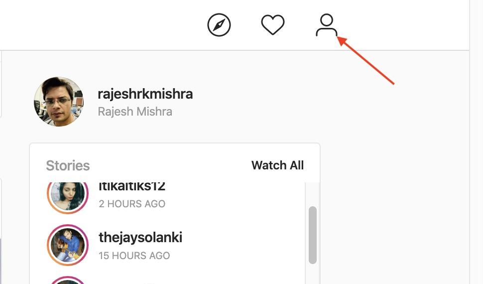 Vaya a Instagram y haga clic en la pestaña de su perfil en la esquina superior derecha