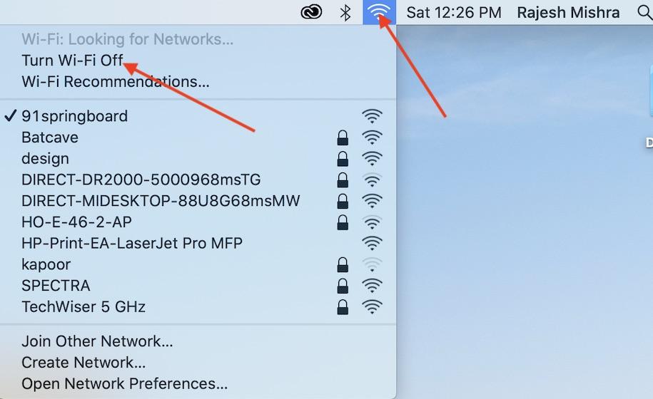 Выключить Wi-Fi - утвердить не работает