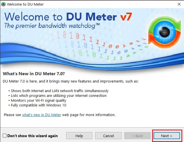 página de configuración DU Meter