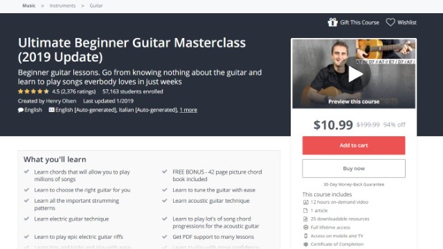 3 Best Guitar Courses Online on Udemy