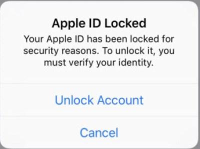 Apple ID заблокирован всплывающее окно
