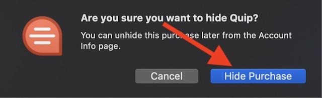 Подтвердите, что хотите скрыть любое приложение
