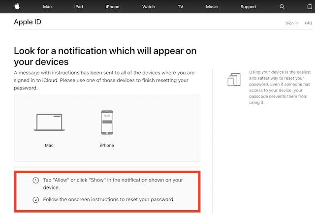 Сбросить пароль с помощью устройства iCloud