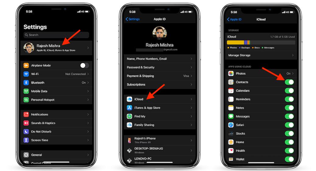 Sincronización de iCloud para contactos en iOS