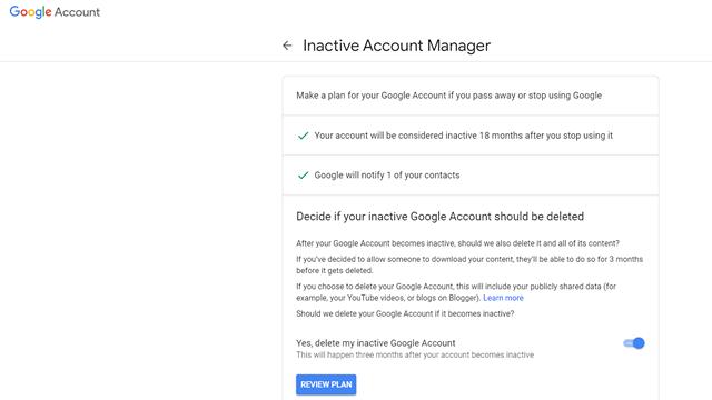 Автоматическое удаление неактивной учетной записи Google 6