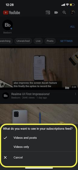 Elija cómo desea filtrar sus suscripciones de Youtube