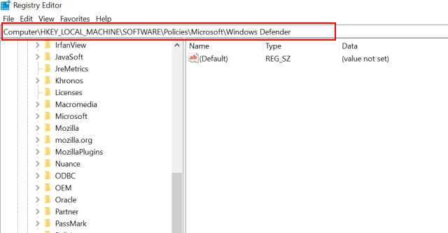 Отключить антивирус Защитника Windows в Windows 10 с помощью реестра