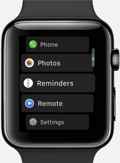 List View on Apple Watch