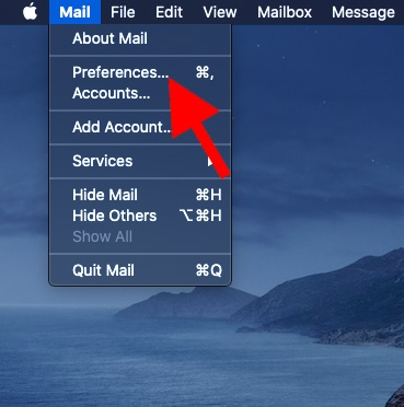 Click on Mail and choose preferences