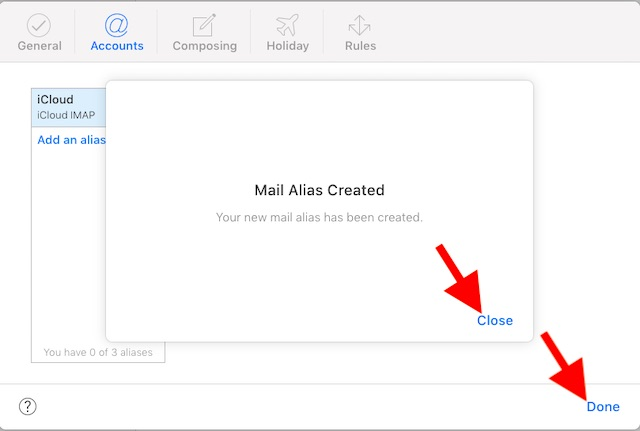 iCloud mail alias created