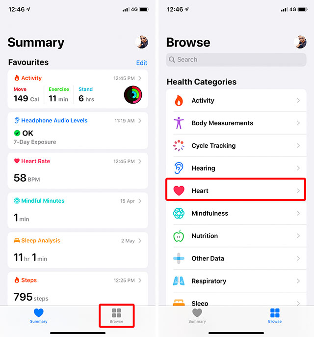 health app heart reports