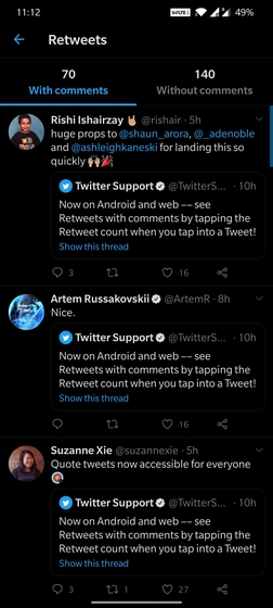 twitter quoted retweet counts android