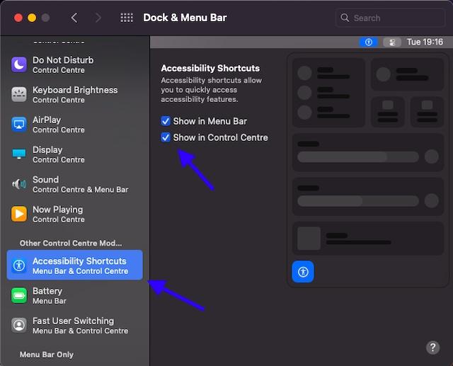 Mostrar accesos directos de accesibilidad en el Centro de control y la barra de menús en Mac