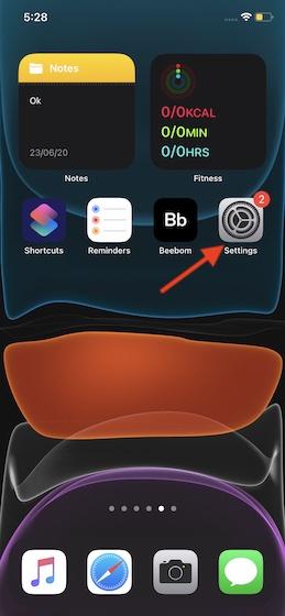 Откройте приложение «Настройки» на вашем iPhone