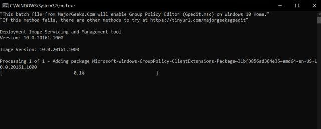 Включить редактор групповой политики в Windows 10 Home Edition