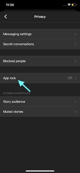 Выберите блокировку приложения