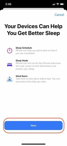 Configurar el seguimiento del sueño en su iPhone 3