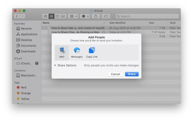 3. Comparta archivos usando iCloud File Sharing en Mac