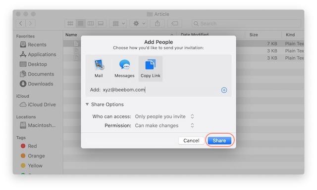 7. Comparta archivos usando iCloud File Sharing en Mac