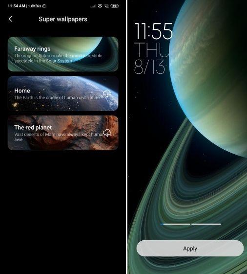 Instale Saturn Super Wallpaper en dispositivos Xiaomi