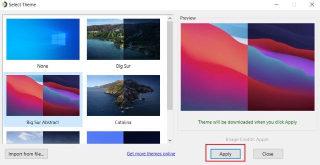 Установите динамические обои macOS в Windows 10