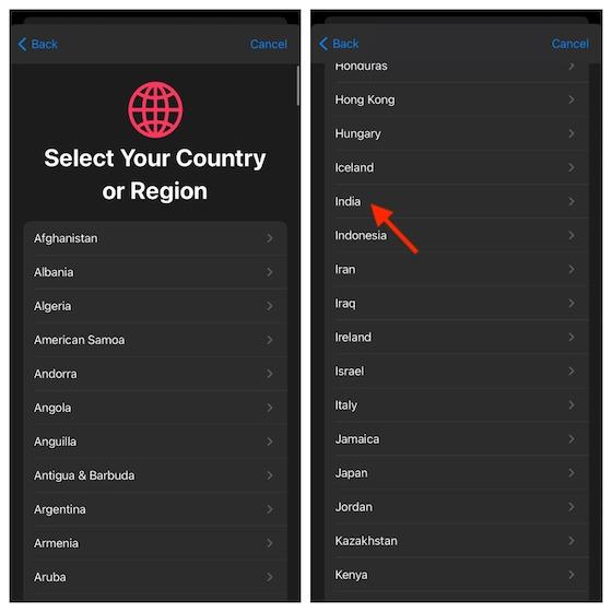 Выберите вашу страну и регион
