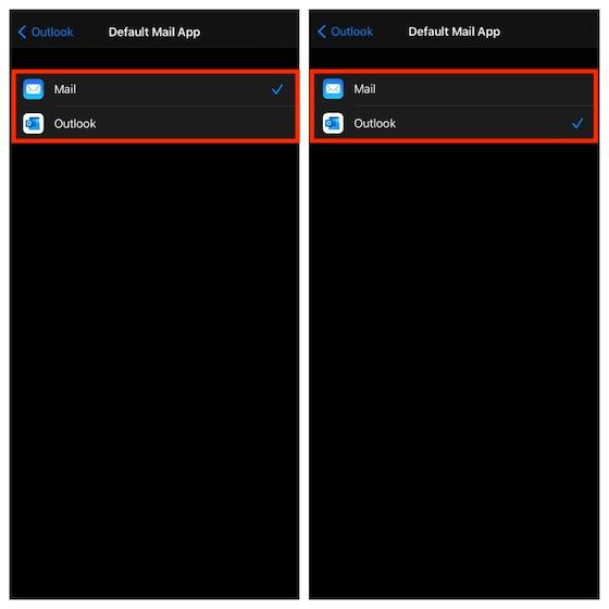 Сделать Outlook почтовым приложением по умолчанию в iOS 14