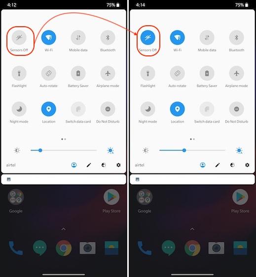 4. Отключите датчики слежения на смартфоне Android.