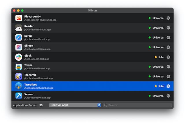 Aplicación en ejecución Rosetta 2