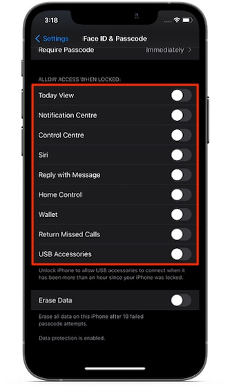 Personalizar permitir el acceso cuando está desbloqueado