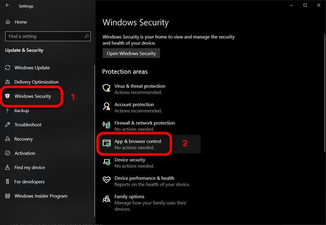 Управление приложениями и браузером Windows 10