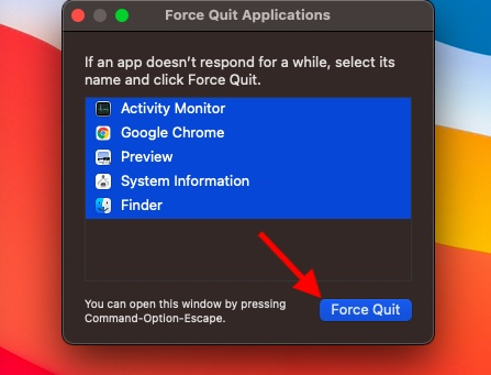 Принудительный выход из приложений на macOS