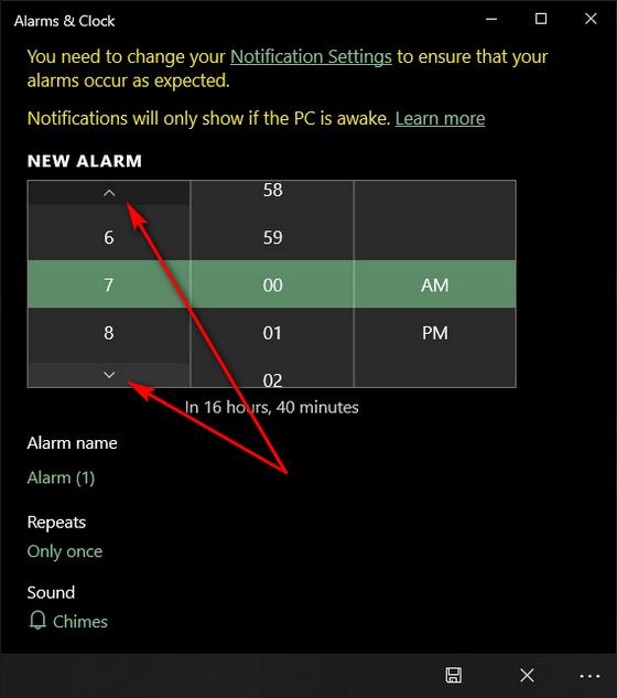 Как установить будильник в Windows 10