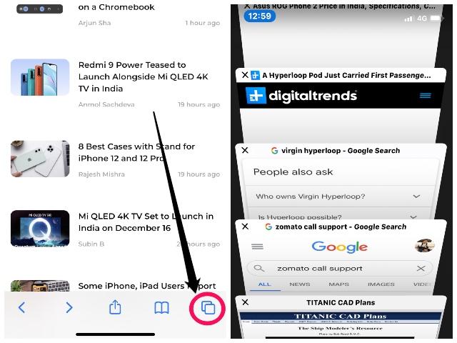вкладки поиска Safari iphone и ipad