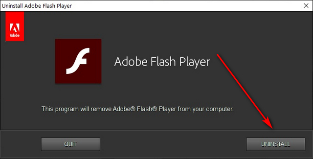 Удалить Adobe Flash