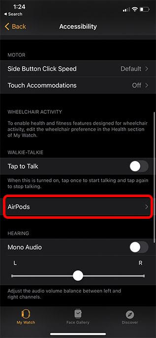 настройки специальных возможностей airpods Apple Watch