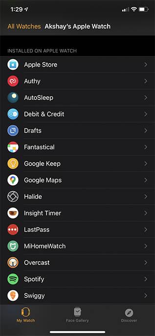 установленные приложения на Apple Watch