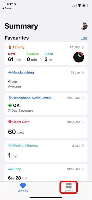 вкладка просмотра в приложении для здоровья iphone
