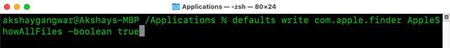 cambiar la terminal de configuración de mac