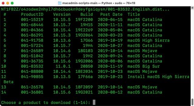 выберите версию macos для загрузки терминала