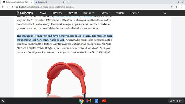 copiar enlace a texto en Chrome OS seleccionar texto