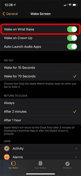 отключите пробуждение, чтобы продлить срок службы батареи на Apple Watch