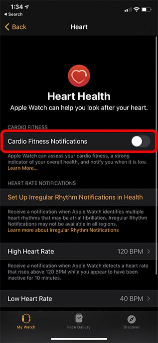 включить уведомления о кардио-фитнесе, Apple Watch