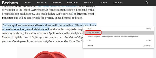 seleccione la opción copiar enlace a texto