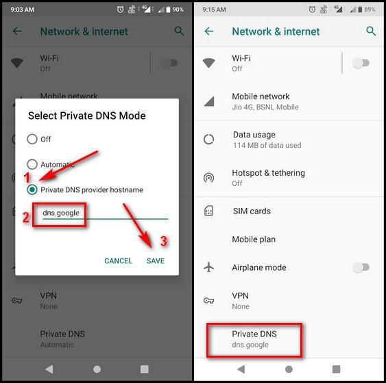 Изменить DNS на Android 9 Pie и новее