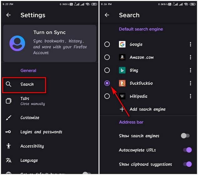 Изменить поисковую систему по умолчанию в Firefox на Android