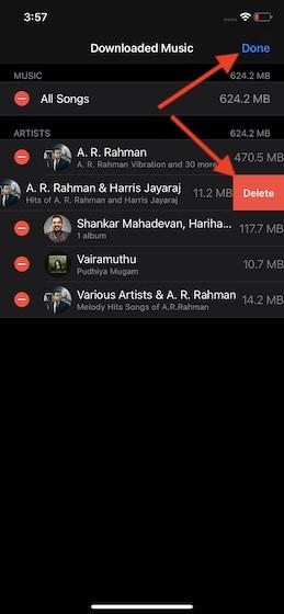Удалить определенные песни на iOS
