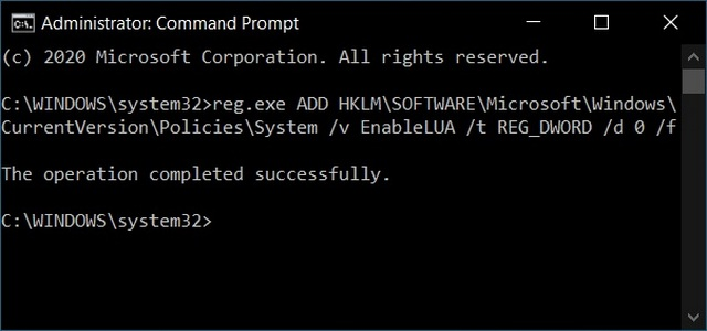 Отключить контроль учетных записей пользователей в Windows 10