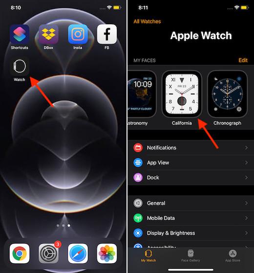 Запустить приложение для часов для iPhone