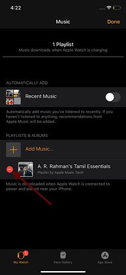 Entfernen Sie Musik von der Apple Watch